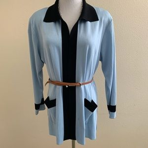 Misook Cardigan Open Front Collared Light Blue